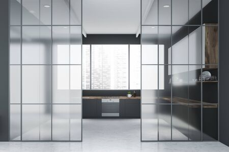 Interior of stylish kitchen with gray walls, panoramic window, gray countertops, white cupboards and glass doors. 3d rendering