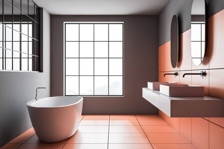 Side view of modern bathroom with gray and orange tile walls, comfortable bathtub and double sink on white countertop with two mirrors above it. 3d rendering