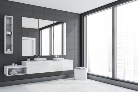 Corner of panoramic bathroom with gray tile walls, white tiled floor, double sink standing on white countertop and three vertical mirrors above it. 3d rendering