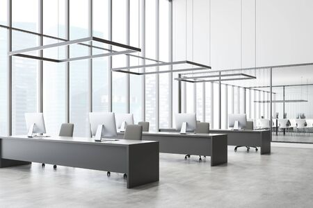 Corner of modern open space office with white walls, panoramic windows, row of long gray computer tables and conference room with glass walls in background. 3d rendering