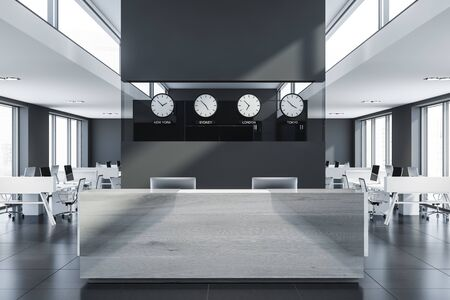 Interior of stylish open space office with gray walls, tiled floor, rows of computer tables and glass and light wooden reception table with clocks above it. 3d rendering