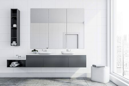 Interior of stylish bathroom with white tile walls, gray tiled floor, double sink standing on gray countertop and three vertical mirrors above it. 3d rendering Stock fotó