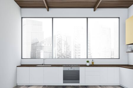 Interior of minimalistic kitchen with white walls, wooden floor, panoramic window with cityscape, white countertops and yellow cupboards. 3d rendering