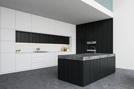 Corner of stylish kitchen with white and dark wooden walls, concrete floor, white countertops, dark wooden island with built in sink and oven. 3d rendering