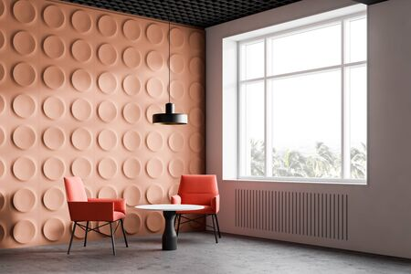 Orange stylish office waiting room corner with geometric pattern walls, concrete floor, bright orange armchairs and white round coffee tables. 3d rendering