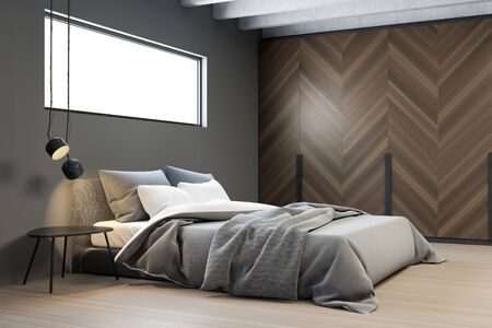 Corner of stylish bedroom with gray walls, wooden floor, king size bed with narrow window above it and comfortable wooden wardrobe. 3d rendering