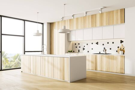 Corner of stylish kitchen with white walls, panoramic window, wooden countertops with built in cooker and white island with sink. 3d rendering Stock fotó