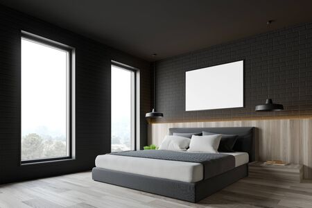 Corner of loft bedroom with gray brick walls, wooden floor, king size bed with two bedside tables and horizontal mock up poster frame. 3d rendering