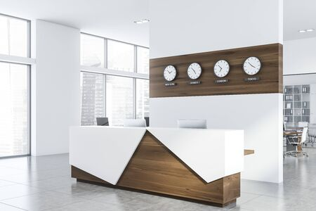Corner of modern open space office with white walls, tiled floor, rows of computer tables and white and wooden reception table with clocks above it. 3d rendering
