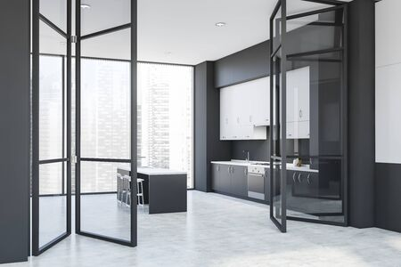 Corner of modern kitchen with dark gray walls, concrete floor, gray countertops, white cupboards and gray bar with stools. Big glass doors. 3d rendering