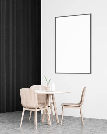 Interior of minimalistic dining room with white walls, concrete floor, black curtain, round table with wooden chairs and vertical mock up poster frame. Concept of advertising. 3d rendering 写真素材