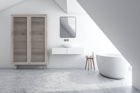 Interior of stylish bathroom with white walls, concrete floor, sink standing on white counter with mirror above it, comfortable bathtub and wooden wardrobe. 3d rendering