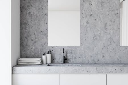 Close up of stylish stone bathroom sink standing on white countertop in modern room with white and stone walls and vertical mirrors. 3d rendering Stock fotó