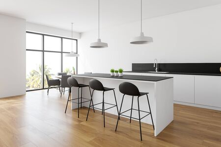 Corner of modern kitchen with white walls, wooden floor, white countertops and cupboards, bar with stools and round dining table with gray chairs. 3d rendering