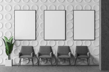 Row of comfortable gray armchairs in modern office lounge area with white geometric pattern walls and concrete floor. Vertical mock up poster gallery. 3d rendering