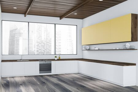 Interior of minimalistic kitchen with white walls, wooden floor, panoramic window, white countertops and yellow cupboards. 3d rendering