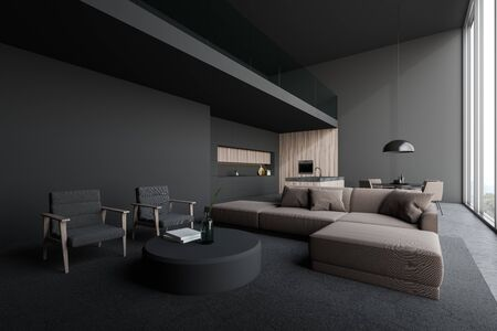 Corner of open plan room with living room area with beige sofa and armchairs near round coffee table and kitchen with gray and dark wooden walls, island, countertops and table. 3d rendering