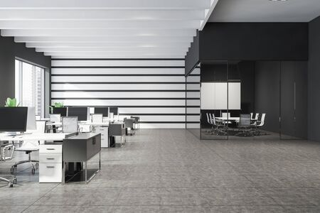 Interior of modern open space office with white and gray walls, tiled floor, windows with cityscape, conference room with projection screen and rows of white computer tables with chairs. 3d rendering