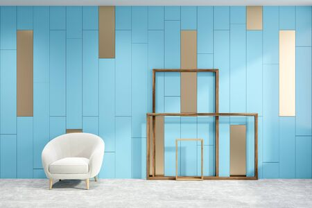 Interior of minimalistic living room with blue walls, concrete floor, comfortable white armchair and wooden picture frames. 3d rendering