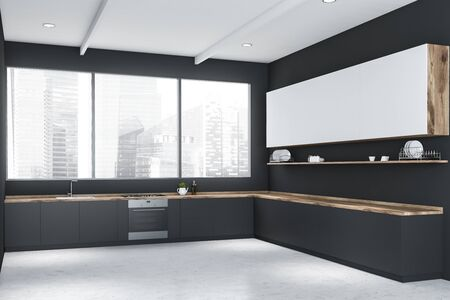Interior of minimalistic kitchen with gray walls, concrete floor, panoramic window, grey countertops and white cupboards. 3d rendering