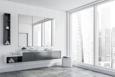 Corner of panoramic bathroom with white tile walls, gray tiled floor, double sink standing on gray countertop and three vertical mirrors above it. 3d rendering Stock fotó