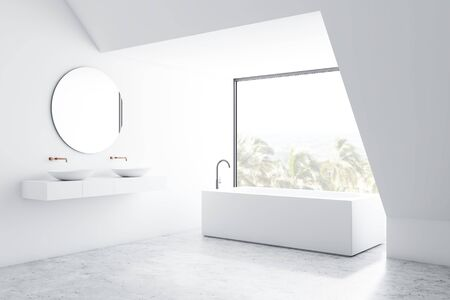 Corner of loft bathroom with white walls, concrete floor, angular bathtub and double sink standing on white shelf with round mirror. 3d rendering