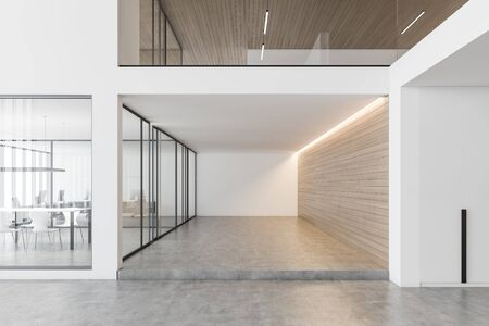 Interior of modern office hall with white and wooden walls, meeting room behind glass doors and open space area with rows of computer desks in background. 3d rendering Stok Fotoğraf