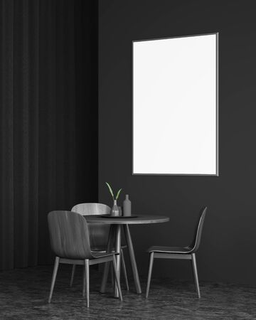 Interior of minimalistic dining room with dark gray walls and floor, black curtain, round table with wooden chairs and vertical mock up poster frame. Concept of advertising. 3d rendering
