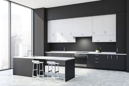 Corner of modern kitchen with dark gray walls, concrete floor, gray countertops, white cupboards and gray bar with stools. 3d rendering Stock fotó