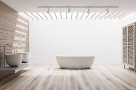 Interior of spacious bathroom with white and wooden walls, wooden floor, comfortable bathtub, double sink standing on stone shelf and wooden wardrobe. 3d rendering