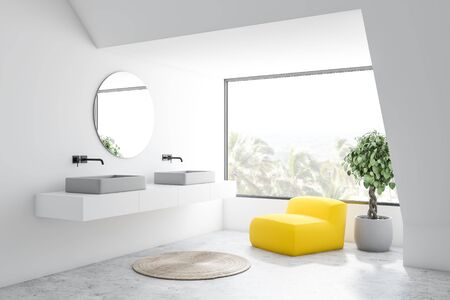 Corner of stylish bathroom with white walls, concrete floor, double sink standing on white shelf with round mirror and bright yellow armchair. 3d rendering