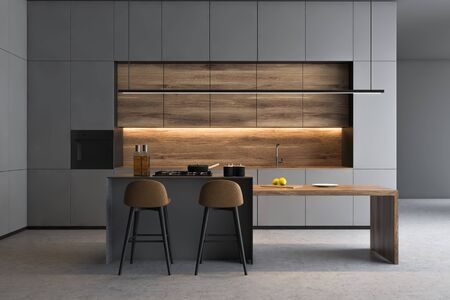 Interior of modern kitchen with gray walls, concrete floor, grey countertops, wooden cupboards and wooden bar with stools. 3d rendering