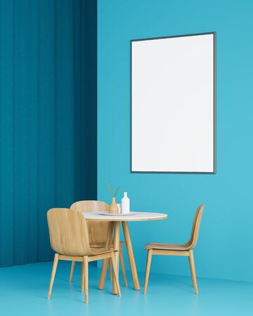 Interior of minimalistic dining room with blue walls and floor, dark blue curtain, round table with wooden chairs and vertical mock up poster frame. Concept of advertising. 3d rendering