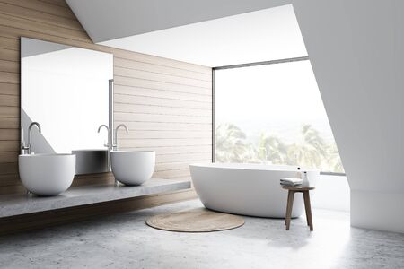 Corner of stylish bathroom with white and wooden walls, concrete floor, comfortable white bathtub and double sink standing on stone shelf with large mirror. 3d rendering Stok Fotoğraf