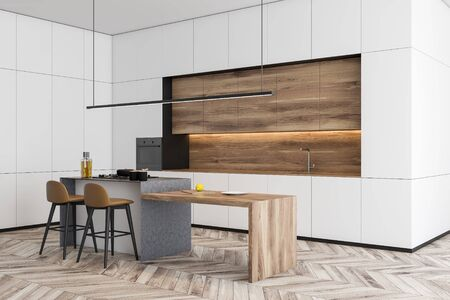 Corner of modern kitchen with white walls, wooden floor, white countertops, wooden cupboards and wooden bar with stools. 3d rendering 写真素材