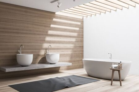 Corner of stylish bathroom with white and wooden walls, wooden floor, comfortable white bathtub and double sink standing on stone shelf. 3d rendering