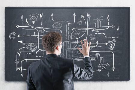 Rückansicht des jungen Geschäftsmannes in Anzug und Brille mit Blick auf die Tafel mit darauf gezeichneter Businessplan-Skizze. Konzept der Geschäftsstrategie Standard-Bild