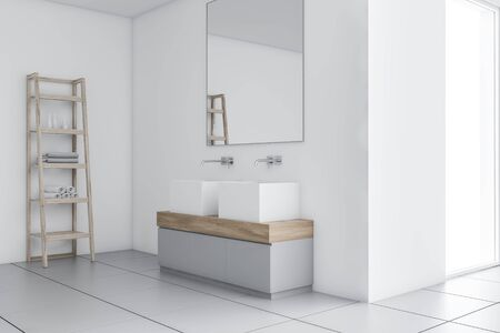 Corner of stylish bathroom with white walls, tiled floor, large double sink standing on gray and wooden counter with big mirror and shelves with towels. 3d rendering