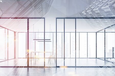 Interior of modern office hall with panoramic meeting room behind glass wall with long conference table and white chairs. 3d rendering toned image double exposure
