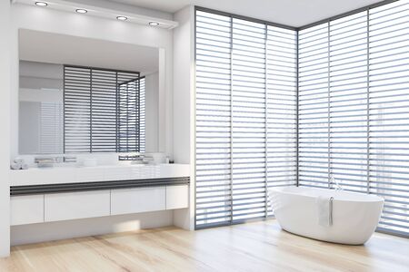 Corner of stylish bathroom with white walls, wooden floor, comfortable white bathtub and double sink on white countertop with large mirror above it. 3d rendering
