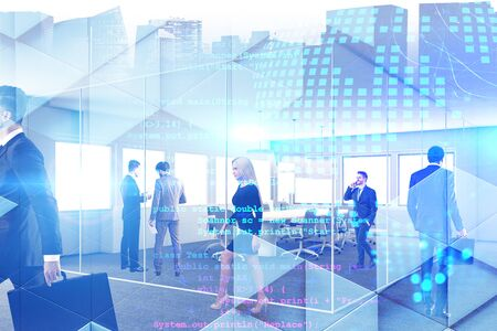 Business people working together in conference room with double exposure of cityscape, digital planet hologram and lines of code. Concept of programming. Toned image