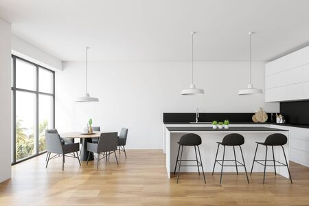 Interior of modern kitchen with white walls, wooden floor, white countertops and cupboards, bar with stools and round dining table with gray chairs. 3d rendering