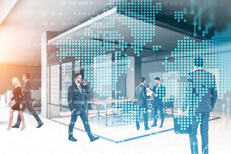 Diverse business people working together in modern office with double exposure of digital world map. Concept of international partnership and globalization. Toned image