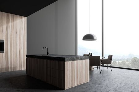 Panoramic kitchen interior with gray and wooden walls, concrete floor, wooden island with built in sink, round dining table with gray chairs and beautiful scenery. 3d rendering