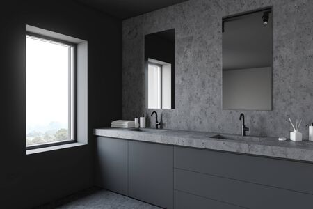 Corner of stylish bathroom with gray and stone walls, stone floor, double sink standing on grey countertop and two vertical mirrors. 3d rendering
