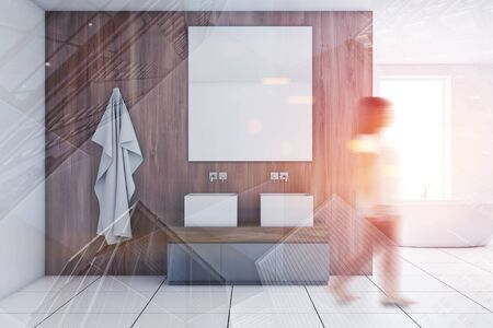 Young woman walking in modern bathroom with wooden and white walls, tiled floor, double sink with large mirror and bathtub in background. Toned image double exposure blurred