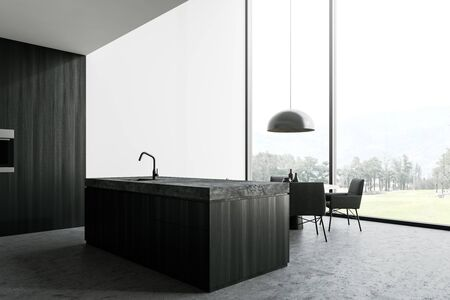 Panoramic kitchen interior with white and dark wooden walls, concrete floor, dark wooden island with built in sink, round dining table with gray chairs and beautiful scenery. 3d rendering