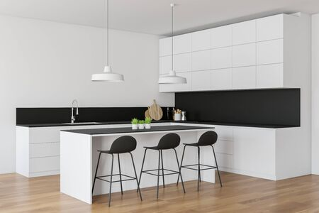 Corner of stylish kitchen with white walls, wooden floor, white countertops with built in sink and oven and white bar with stools. 3d rendering