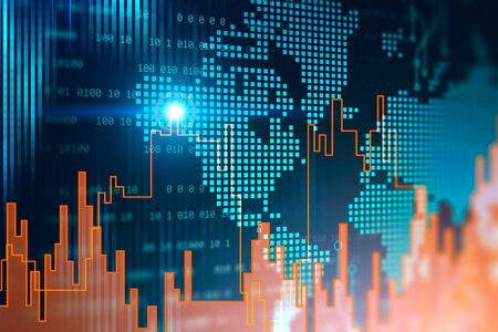 Orange digital graph over digital world map background. Concept of stock market and trading. 3d rendering toned image double exposure