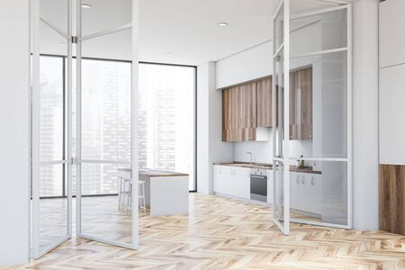 Corner of modern kitchen with white walls, wooden floor, white countertops, wooden cupboards and white bar with stools. Big glass doors. 3d rendering Stock fotó